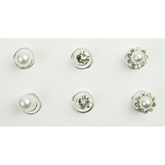 Fleurs perles et strass à natter