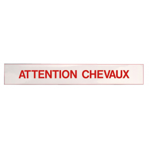 Panneau autocollant Attention chevaux